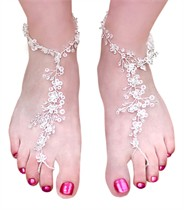 Beach Foot Lace Barefoot Sandals - Austrian Crystals - <br> Sold in Pairs