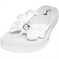 Katelynn - Swarovski Crystal Bridal Flip Flops - Wedge Heel - 60 Colors