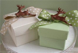 Country Christmas Reindeer Favor Box with Reindeer
