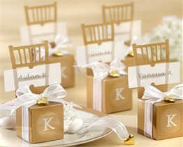 Miniature Gold Chair Favor Box with Heart Charm and Ribbon - Set of 12 (Can be Monogrammed)