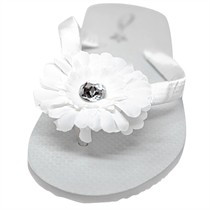 Jamie - 3 Inch Daisy Flower Girl Flip Flops - 60 Ribbon Colors