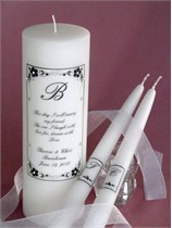 Morning Glory Wedding Verse Unity Candle & Matching Tapers