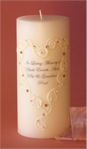 Pink Swarovski Crystal Lace Heart Memorial Candle