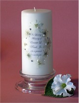 Queen Anne White Swarovski Crystal Memorial Candle