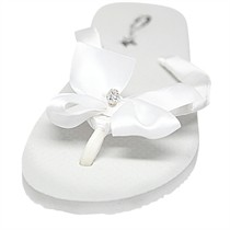 Marjorie with Silver Swarovski Crystal Ball - Bridal Flip Flops - Flat Heel - 60 Colors
