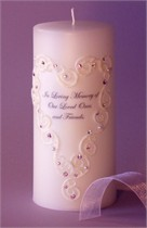 Violet - Lavender Swarovski Crystal Lace Heart Memorial Candle